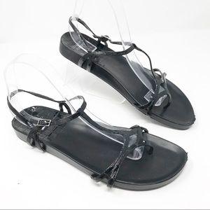 STUART WEITZMAN Flat Black Strappy Sandals Size 9